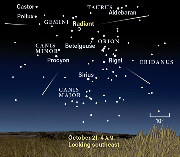 Sky map showing the Orionids' radiant