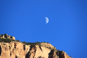 First Quarter Moon in daytime over Arizona
