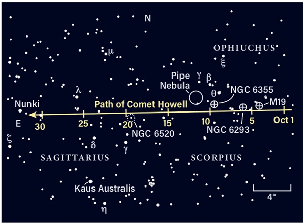 Star map showing the location of 88P/Howell in October 2020
