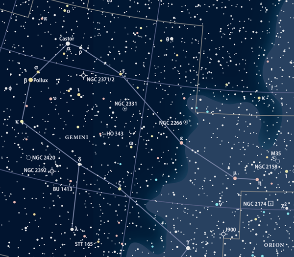 Star chart showing Gemini the Twins